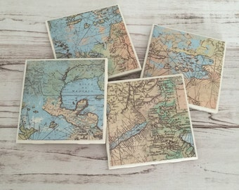 Map Coasters, Ceramic Coasters, Coaster Set, Tile Coasters, Christmas Gift, Gift For Her, Man Cave, Gift for Him, Housewarming Gift