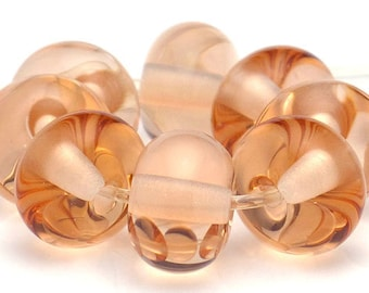Handmade Lampwork Spacer Beads Peach Transparent SRA