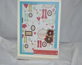 Greeting card, blank inside, Home Sweet Home.  Ready to ship. OOAK.