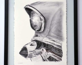 57 Chevy Bel-Air Headlight pencil drawing - limited edition print by James Becker