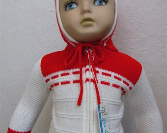 """1960's """"Little Angel""""  Red and White Zip Up Hoodie / Deadstock / Size: 1 to 3 Months"""