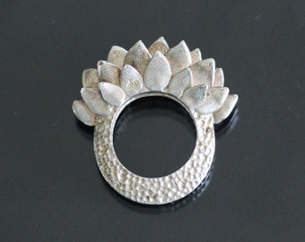 Sterling Silver Statement Ring - size 7.25 - Hand Carved - Sculpted - One of a Kind