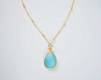 Blue Stone Necklace, Chalcedony Necklace, Teardrop pendant, 14kt Gold Filled, Sterling Silver, Blue Stone Necklace