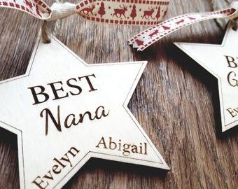 Personalised Engraved Wood Wooden Star Grandpa Granny Nanna Nan Gramps Grandchildren Christmas Tree Decoration Hanger Bauble Grandad Best