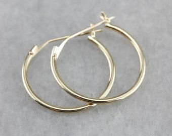 Small Gold Hoop Earrings, Yellow Gold Hoops, Thin Hoops, Hoop Earrings 9MC9VF55-D