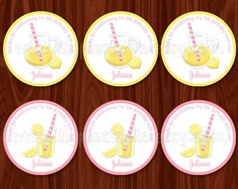 Pink Lemonade Limeade Cupcake Toppers / Labels / Tags PDF digital printable file