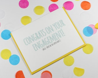 Funny Engagement Card, Engagement Congrats Card, Funny Congrats Card, Engagement Card