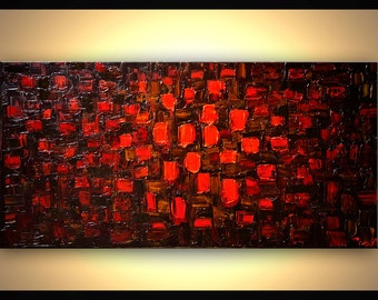 """Acrylic Painting 48"""" Original Abstract Modern Texture Red Painting Ready to Hang by Osnat Brown Red"""
