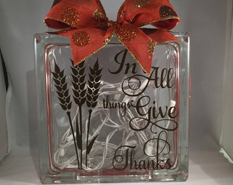 Decorative Thanksgiving/Fall/Autumn Lighted Glass Block (6 inch)