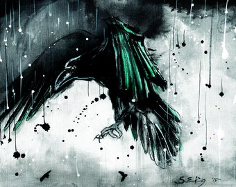 Bird art print, 8x12, 16x12, A4, A3, select size, canvas sheet, abstract raven painting with teal feathers