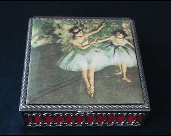 """Ballerina Trinket Box - Jewelry Box """"DANSEUSES EN JAUNE"""" by Degas with Padded Cloth Covered Lid"""