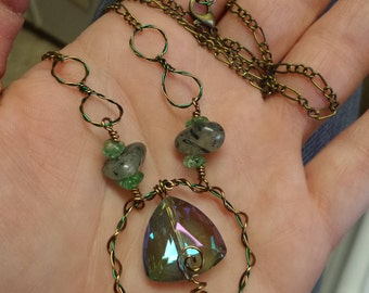 Green Titanium Swarovski Rutilated Prehnite Antique Bronze Wire Wrap Hoop Pendant Necklace 100% Hand Crafted