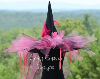 Witch Hat Hot Pink and Black, Halloween Witch Hat, Breast Cancer Awareness, Over the Top Halloween Hat Accessory, Pink and Black Witch Hat