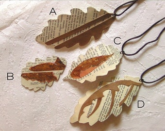 Oak Leaf Book Paper Art Pendant Necklace Rust Marquetry Wood One of a Kind Gift Nature Lovers Paper Art Leaves Forest Tribal Boho Talisman