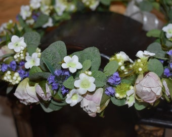 Flower Girl Crown, Lavender Flower Crown, Wedding Flower Crown, Flower Crown