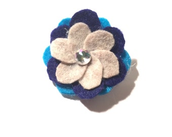 Handmade Cream, Navy, and Cerulean 2.25in Felt Flower Pin
