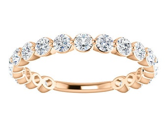 "Moissanite Eternity 14K Gold Band, ""Forever Brilliant"" Anniversary Ring, Wedding"