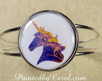 Unicorn Bracelet, Unicorn Cuff, Unicorn Jewelry, Unicorn Gifts, Gifts with Unicorn, Jewelry with Unicorn, Bracelet with Unicorn