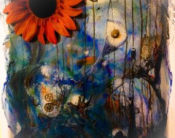 Remember, print from original mixed media, flower, shell, abstract, housewarming, wall art, desk art, home decor, office