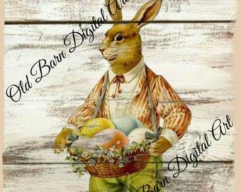 Primitive Digital Art- Peter Rabbit -Hare -Easter Wishes-Jar Candle Logo- Pantry Label - Rusty Can Label  - Label JPEG File Instant Download