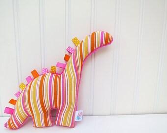 Plush Dinosaur Stuffed Animal Pink Orange Stripes