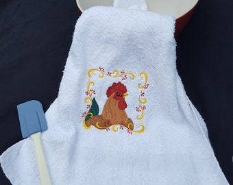 embroidery rooster  towel/ kitchen towel/ gifts under 10/ gifts under 20/ country / hand towels