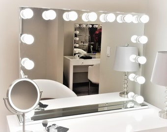Vanity mirror etsy xxl dimmable hollywod forever lighted vanity mirror free led bulbs w sliding dimmer dual outlets aloadofball Gallery