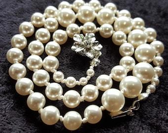 Crystal Pearl Necklace, White Pearls, Swarovski Pearl Necklace, Hand Knotted Pearls, Bridal Pearl Necklace, Wedding Pearl Necklace, Bridal