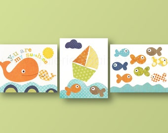 Nautical Nursery Whale Nursery Boat fish orange blue yellow bathroom art Baby room decor you are my sunshine Set of three prints Kids