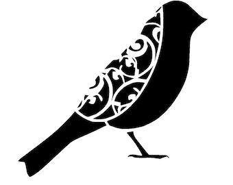 """6/6"""" Vintage bird design 2.1 stencil."""