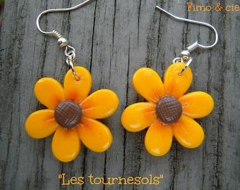 """Sunflower flowers"" earrings"