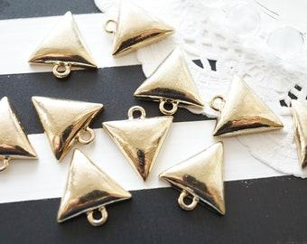 SALE 10pcs Puffy Triangle Charms (15mm) AZ805
