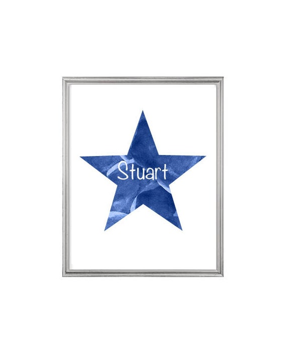Navy Star Nursery Print with Custom Name, 8x10