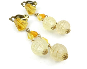Vintage, Bead Dangle, Earrings, Lucite, Orange, Yellow, Clip Ons