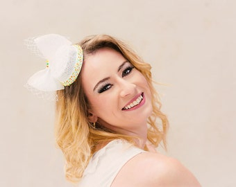 Bridal hat bellboy neon dots embroidery veil bow white wedding fascinator