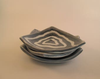 Blue and White Triangle Dish