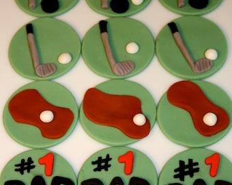 GOLF -  Fondant Cupcake Tops - 1 Dozen
