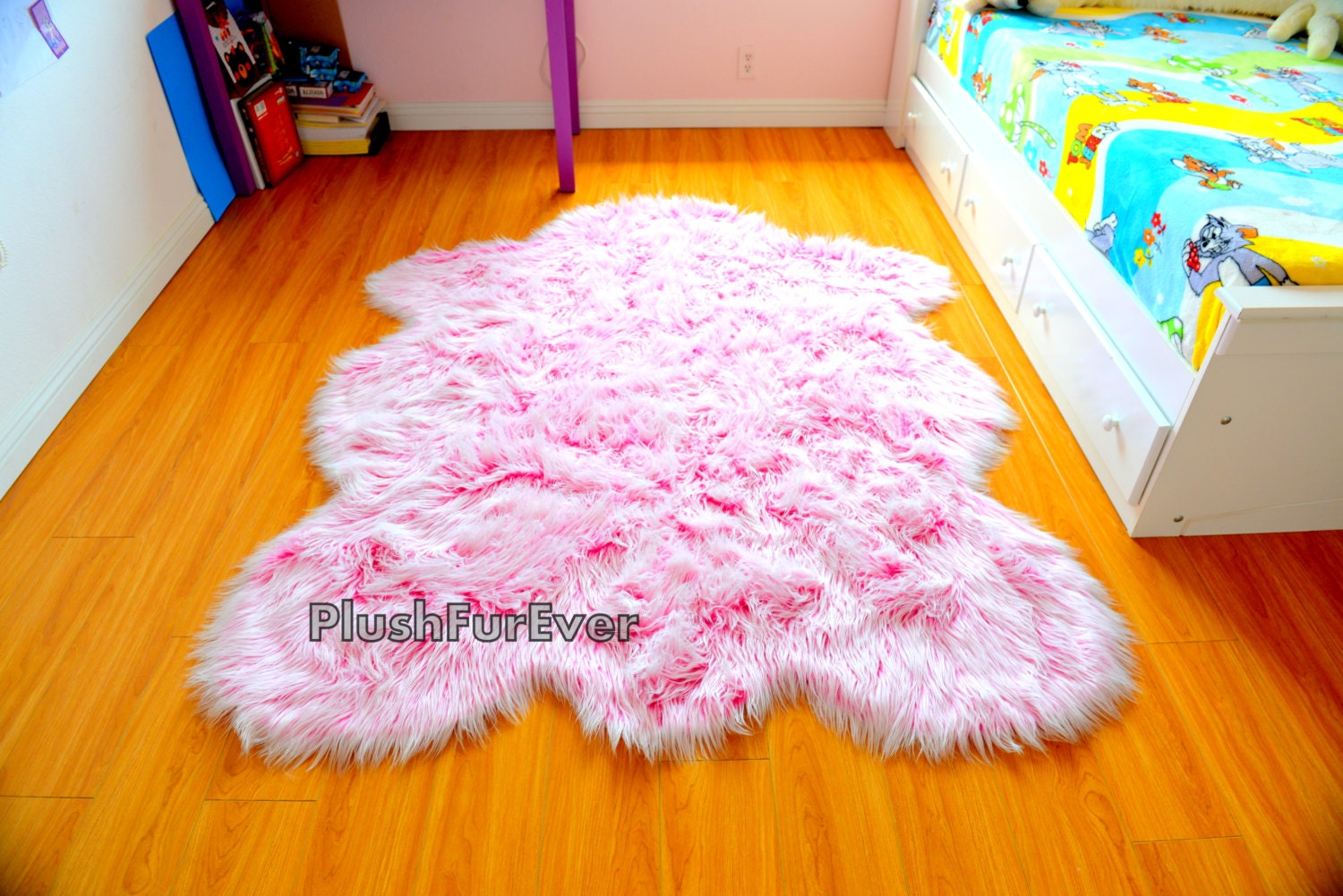 It\'s A Girl Rug Baby Girl Nursery Rug Pink White Faux Fur