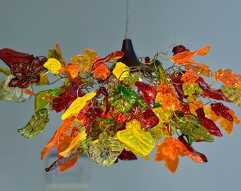 Lighting hanging chandeliers with warm color flowers and leaves ,hand made ceiling lamp