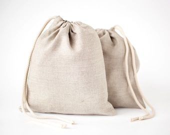 Linen bread bag - Drawstring bag - Linen gift bag - Linen laundry bag - Linen bread keeper - linen products bag - Lingerie travel bag