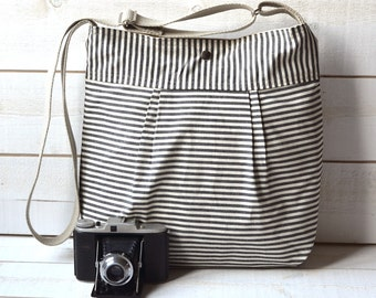 Diaper bag,Messenger bag,black canvas bag,striped bag,Gift for her,geometric bag,nautical striped,Gift for mom,crossbody bag