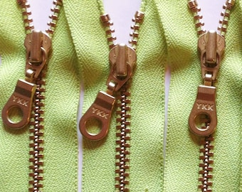 YKK Brass Zippers- 12 Inch Metal Teeth Zipper with fancy donut pull and gold colored teeth- color 535 Party Green- 5 pcs