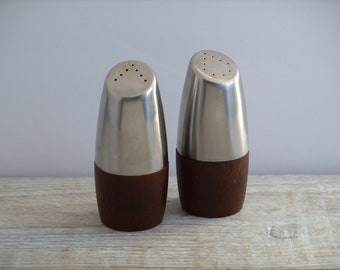 Vintage Arthur Salm Stainless and Teak Swedish Salt & Pepper Shakers ~ Mid Century Modern Sweden Scandanavian Design ~ Kitchen Table Decor