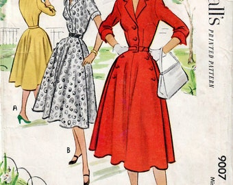 1950s McCall's 9007 Vintage Sewing Pattern Misses Shirtwaist Dress, Fitted Dress, Full Skirt Dress, Afternoon Dress Size 20 Bust 38