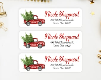 Address Labels / Christmas Truck, Winter Return Address Labels / Custom Address Labels / Address Sticker / Address Label Sticker / Nicole
