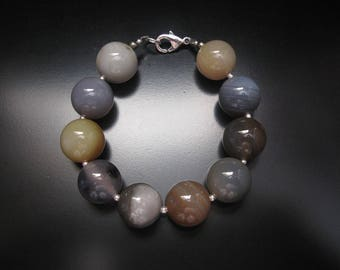 Gray Agate Bracelet, Silver Agate Bracelet, 16mm Agate Round Beaded Sterling Silver, Chunky Gray Brown Necklace Agate Jewelry Bracelet