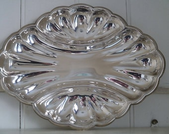 Vintage Silverplate Serving Tray, Scallop Silverplate Platter, Silverplate Three Section Serving Tray, Hors d'oeuvre Serving Tray