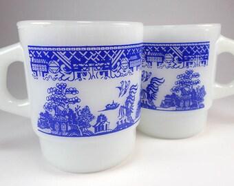 Vintage Blue Willow Coffee Mug Set, Anchor Hocking Fire King, Asian Decor