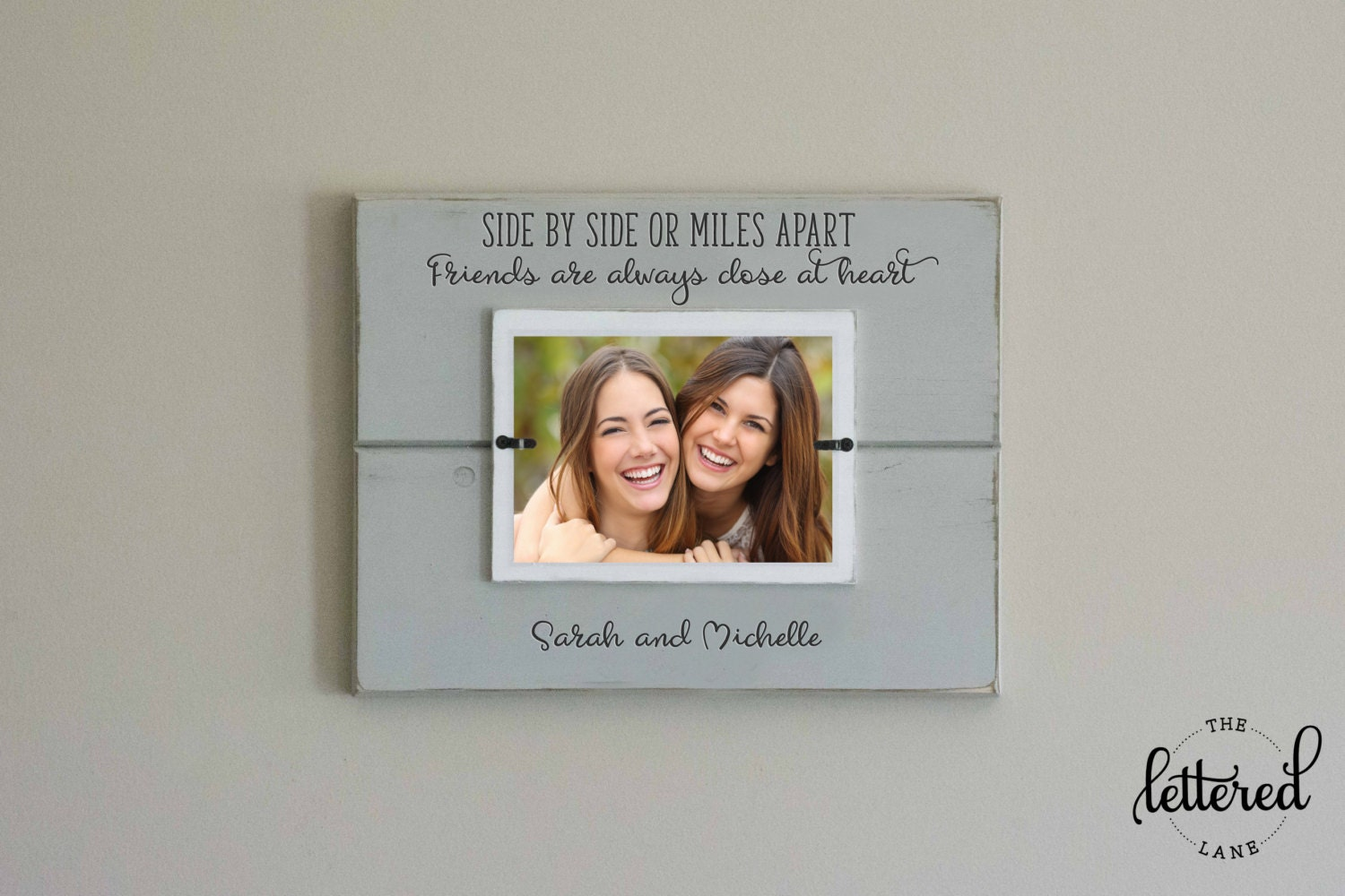 Friends picture frame side by side or miles apart close at