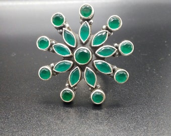 Sterling Silver and Emerald adjustable ring